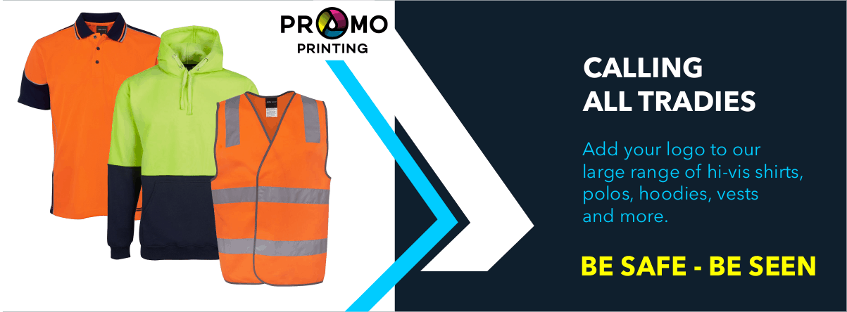 Calling all tradies: Add your logo to our large range of high-vis shirts, polos, hoodies, vests and more.