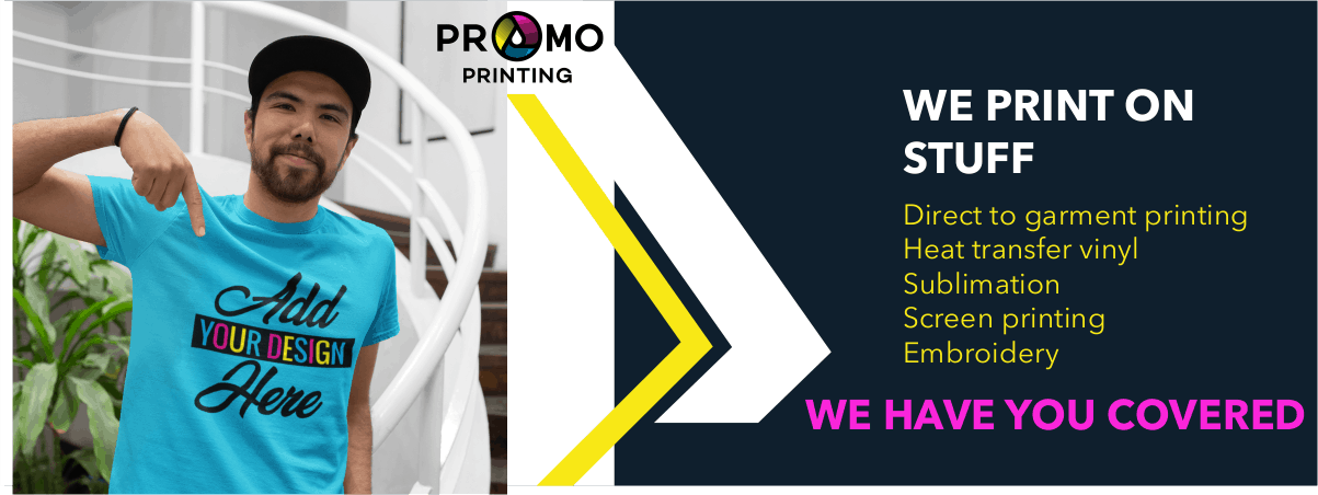 We print on stuff! Direct to garment printing, heat transfer vinyl, sublimation, screen printing, embroidery. We have you covered!